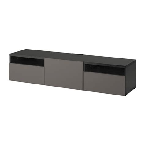 besta bench best 197 tv bench black brown grundsviken dark grey drawer