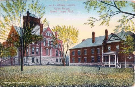 Ottawa County Court Records Grand Michigan Ottawa County Court House Vintage Postcard Photo