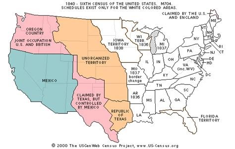 map of the united states in 1840 the usgenweb census project
