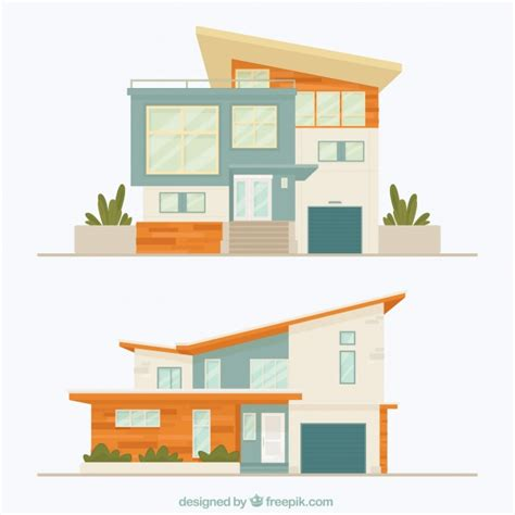 modern home design vector two facades of modern houses vector free download
