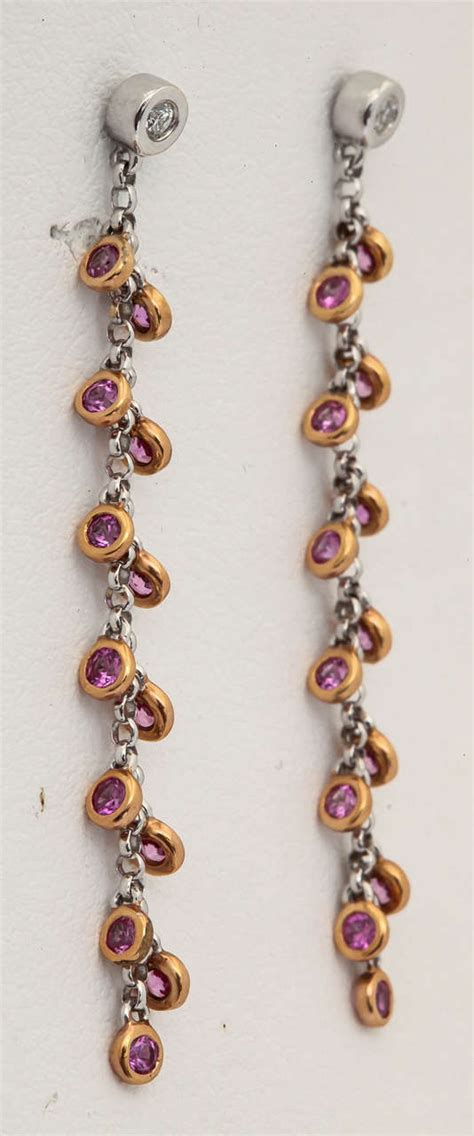 Sushify Your With This Great Earring And Necklace Set by Lovely Pink Sapphire Gold Dangle Earrings At 1stdibs