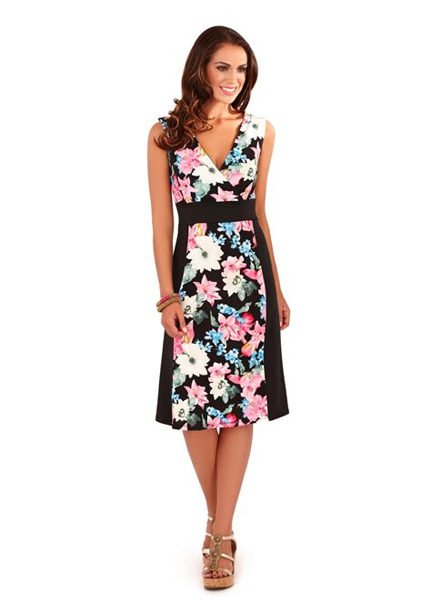 Panel Floral Midi Dress womens midi dress mid length floral stretch panel summer