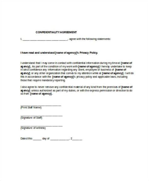 partnership agreement template ontario 8 confidentiality agreement form sles free sle