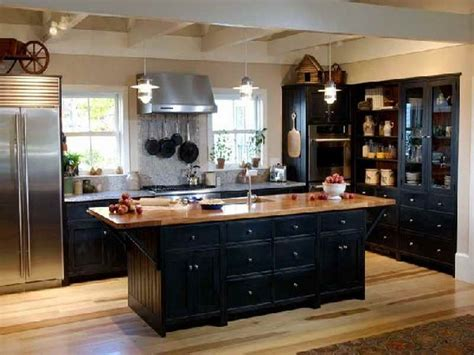 black rustic cabinets kitchen