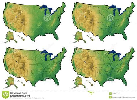 map of the united states showing physical features four versions of physical map of united states stock