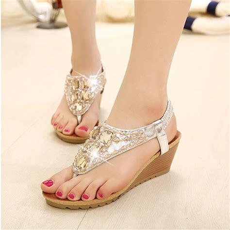 Sandal Wedges Ls03 Hitam 69 bohemian wedge heel beaded rhinestone flip flop sandals us 28 69 sold out