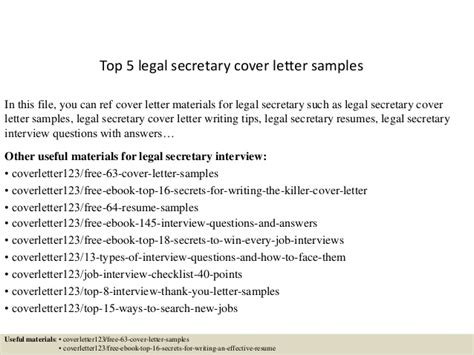 Top 5 legal secretary cover letter samples