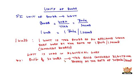 what is in law unit units of power and definition of watt youtube