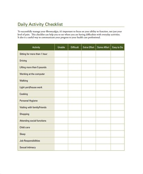 weekly checklist template word daily checklist sle health cleaning schedule template