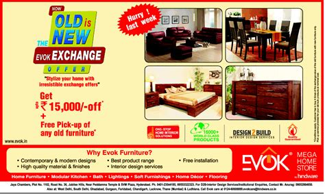 the evok exchange offer on furniture for last week at
