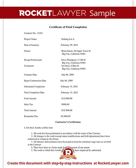 certificate of final completion form for construction