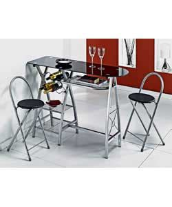 Glass Breakfast Bar Table Fia Glass And Metal Breakfast Bar With 2 Chairs Review Compare Prices Buy