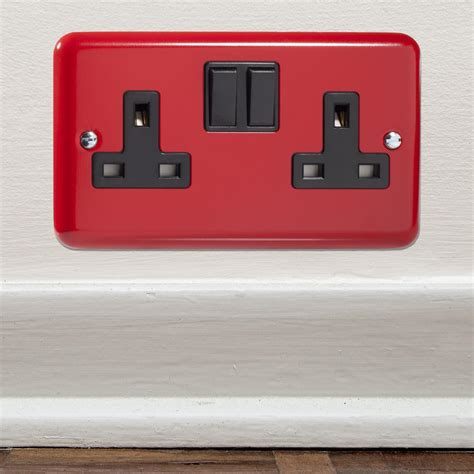 Designer Pillar Box Red British Made Double Plug Switch