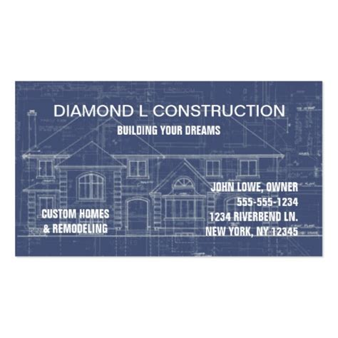 builders business cards designs templates construction business card zazzle