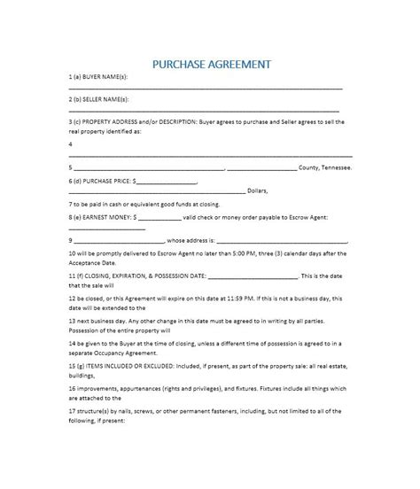 37 Simple Purchase Agreement Templates Real Estate Business Real Estate Purchase Agreement Template