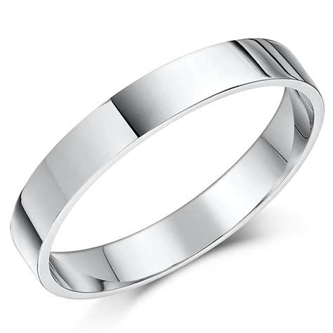 3mm flat shaped white gold wedding band 3mm at elma uk