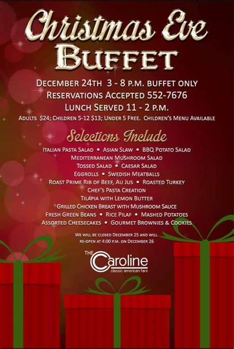 christmas eve menus buffet join us for the 2015 buffet the caroline