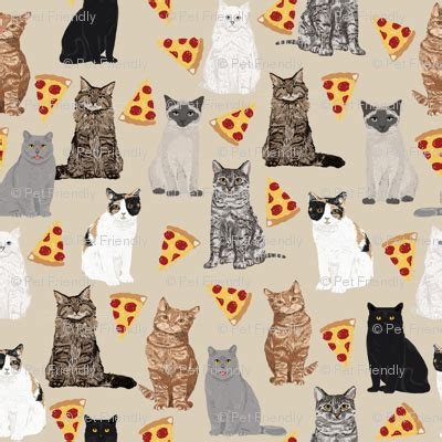 pizza cats cute cats  pizzas fabric adorable kitty