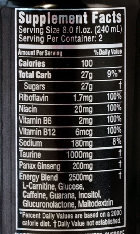 energy drink nutrition label rockstar energy drink ingredients label