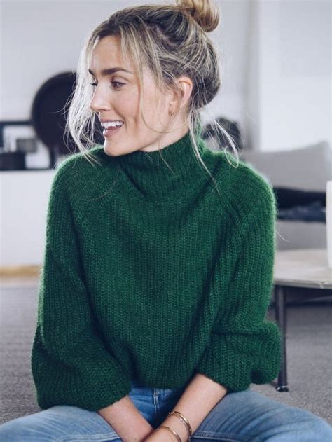 Turtle Neck Hnm Lace Crop Top sweaters green