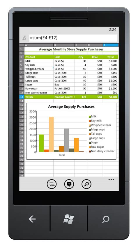 Spreadsheet Mobile by Excel Mobile On Windows 7 Phone News Center