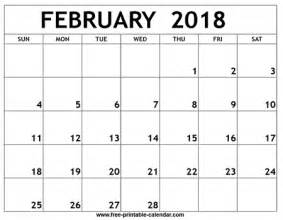 Calendar 2018 Feb February 2018 Printable Calendar