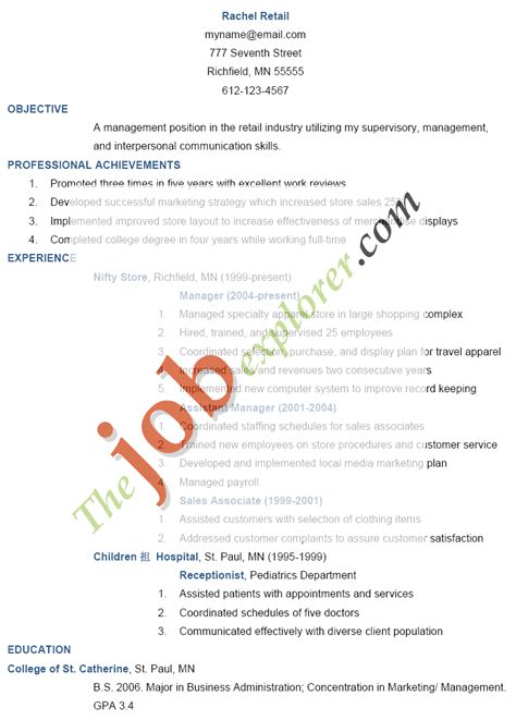 objective to write in resume for retail resume objective exles assistant manager platinum