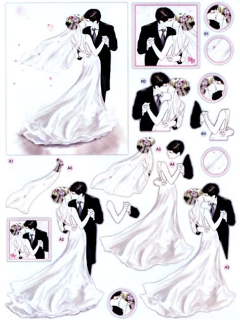 Wedding Decoupage Sheets - dcd591 wedding day die cut 3d decoupage sheets