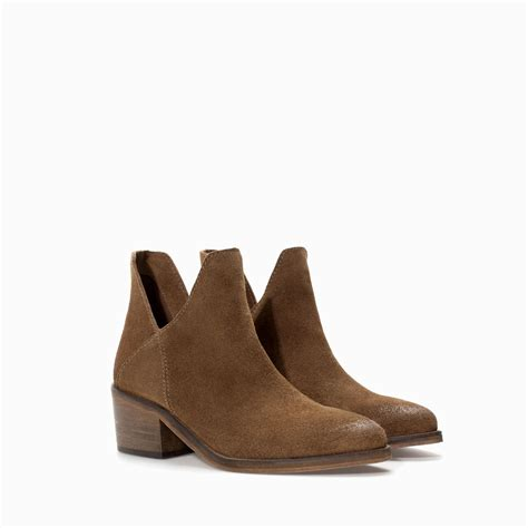 zara flat hide ankle boot in brown leather lyst