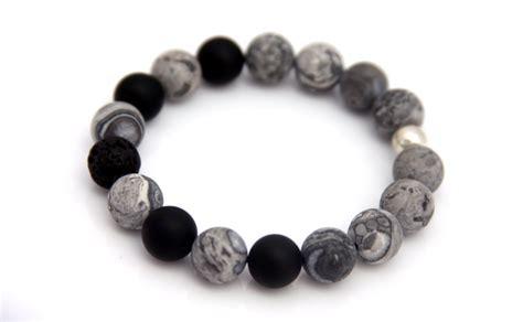 Grey Lava Bead Bracelet   Handmade Jewelry by jewelry designer Reija Eden