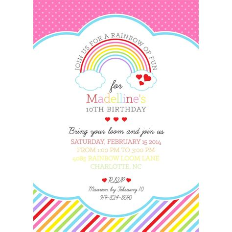printable themed party invitations rainbow loom birthday party printable invitation