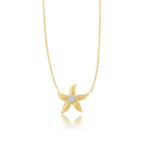 sea starfish necklace in 14k two tone gold richard