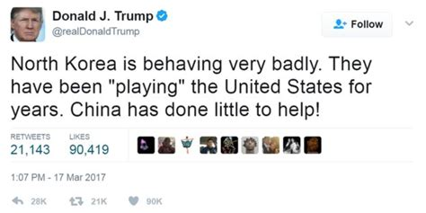 donald trump north korea tweet trump ready to solve north korea problem without china