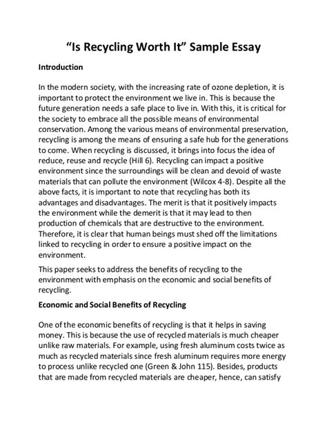 Reduce Reuse Recycle Essay by Is Recycling Worth It