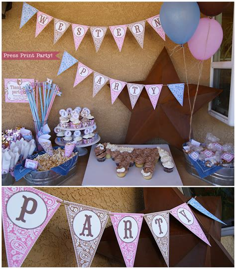 printable cowboy party decorations cowgirl western party printables pink brown and blue