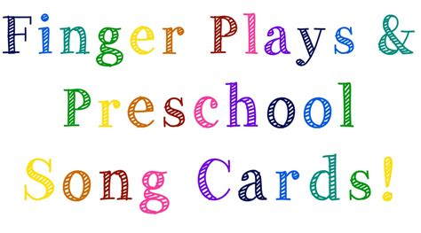 song cards finger play and preschool song cards