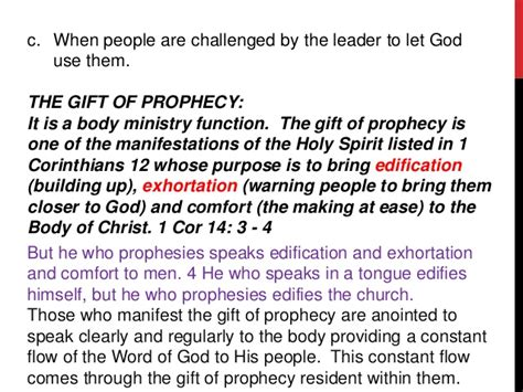 prophecy is for edification exhortation and comfort introduction to the prophetic ministry