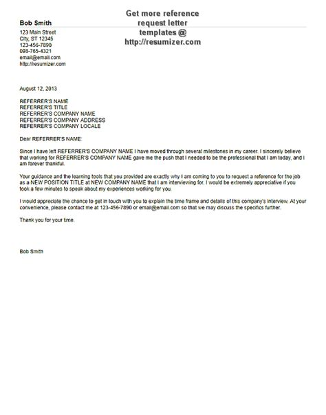 free letter of recommendation template free reference request letter templates 6
