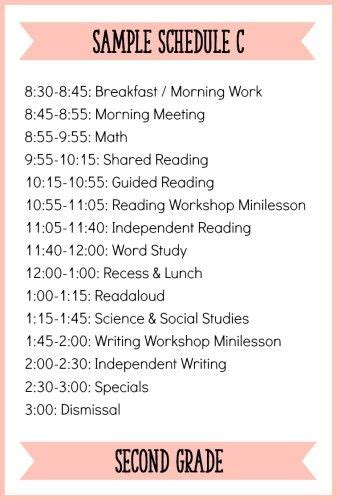 Fitting It All In How To Schedule A Balanced Literacy Block For Second Grade Learning At The Second Grade Schedule Template