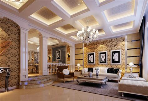 european style luxury home interior decoration 2015 别墅客厅吊顶 别墅客厅吊顶设计