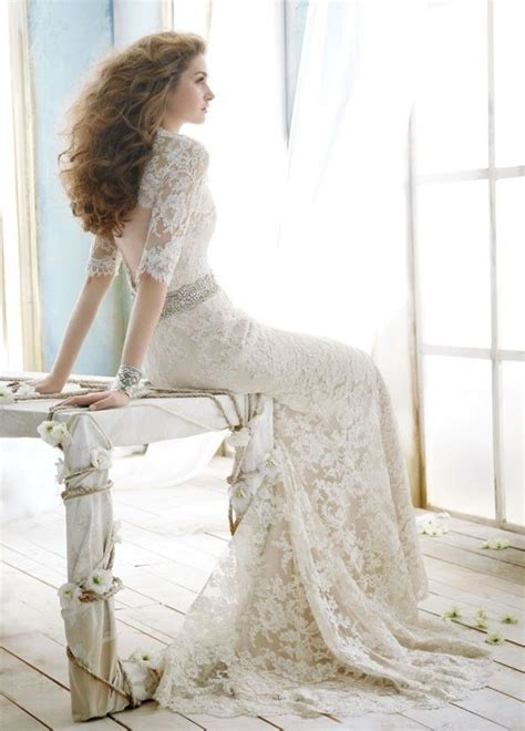 vintage mermaid wedding dress trumpet brush train