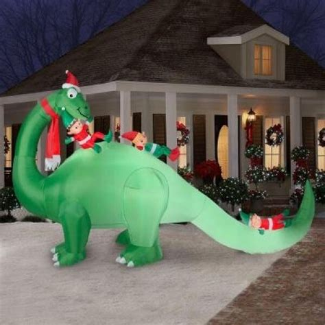 lighted dinosaur christmas decoration 7 ft dinosaur elves yard decor new ebay