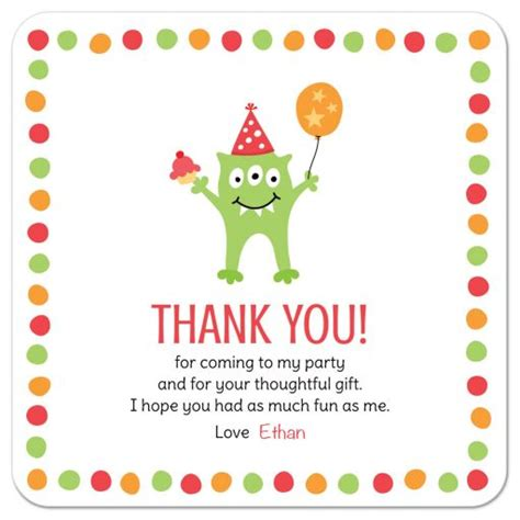 Thank You Letter For Coming To With Three Balloon And Hat Birthday Thank You Card With Personalized Text