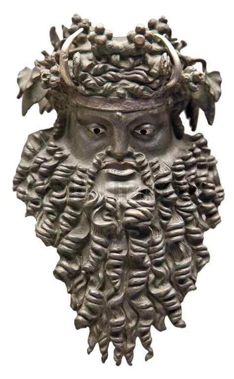 dionysus mask greek god  vine stock photo colourbox