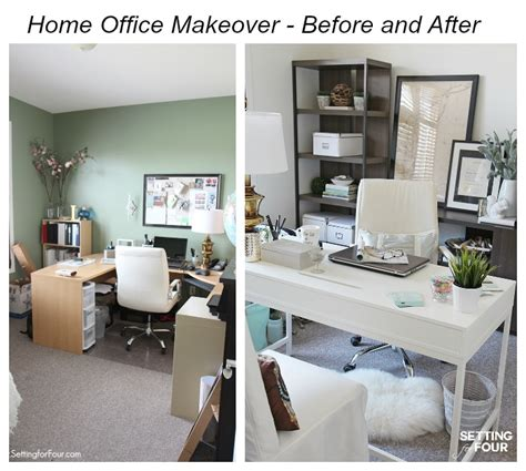 home makeovers home office makeover before and after setting for four