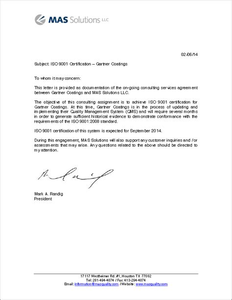 announcement letter for iso certification request letter for iso certification best free home