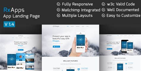 themeforest app landing page rxapps responsive app landing page by ecologytheme