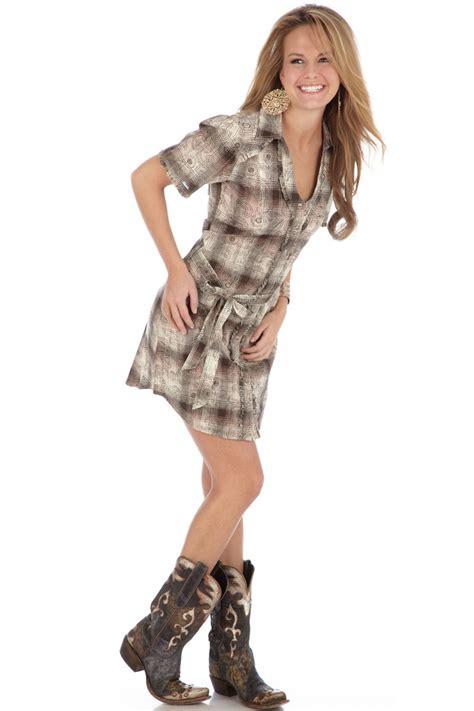clos8 gt gt wrangler rock 47 s brown paisley western dress