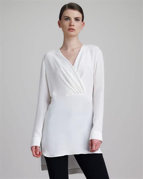 Tunic Blouse lyst derek lam womens silk surplice tunic blouse white in white
