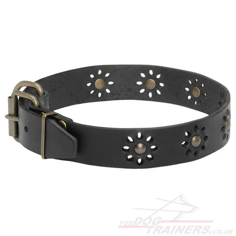 Handmade Leather Collars - pretty collars flowery style collars 163 35 05